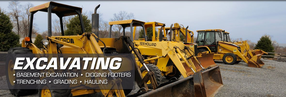 fleet of excavation equipment for landscaping projects