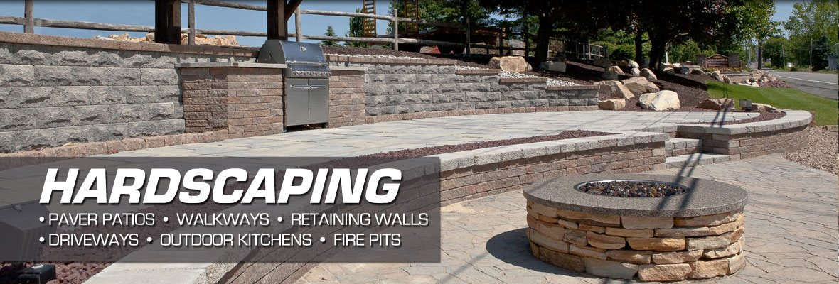 custom paver patios, retaining walls, outdoor kitchens, and fire pit installation