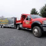 Sunnieside Landscaping work truck with trailer for landscaping