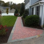 Custom brick walkway leading up to front door