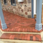 closeup of brick porch and steps