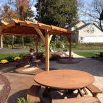 Outdoor patio with picnic table and awning