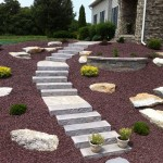 garden with mulch and stone landscaping elements