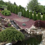 Installed stream leading to large pond