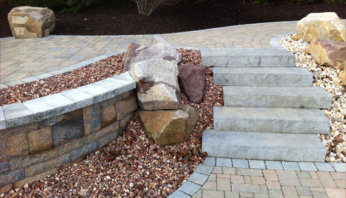 stone steps and hardscaping designs